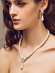 Copy To Imitation Pearl/ Rhinestone Ladies' Jewelry Set Including Necklace And Earring Set