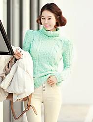 Frauen Korean Fashion Pullover Rollkragen-Strick Kabel Gepunktete Pullover Warm Basic Shirt Top