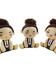 Mousse Curly Hair Updo Little Girl Suspender Pant Spring Head ABS Doll(Random Color)