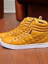 Costura Casual zapatos de alta Tendencia punto para hombres (amarillo)