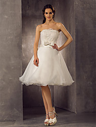 Lanting Bride A-line / Princess Petite / Plus Sizes Wedding Dress-Knee-length Scalloped-Edge Lace / Organza