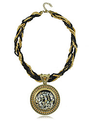European Ethic Style Resin Rhinestone Round Women's Necklace