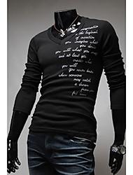 ZBN Herren V-Ausschnitt, Briefe drucken Langarmshirt Abnehmen Shirt (schwarz)