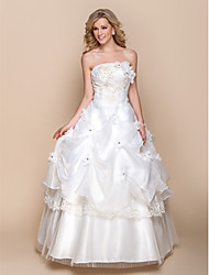 A-line Strapless Floor Length Organza Wedding Dress with Beading Appliques Flower Pick-Up