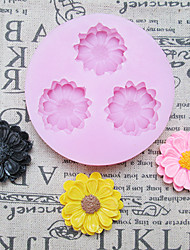 DIY Three Holes Sunflower Silicone Mold Fondant Molds Sugar Craft Tools Resin flowers Mould Molds For Cakes