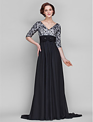 Lanting Bride A-line Plus Size / Petite Mother of the Bride Dress Sweep / Brush Train Half Sleeve Chiffon / Lace withFlower(s) / Lace /