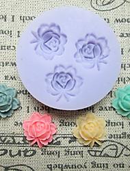 Tres Flor celular con hojas del molde del silicón Herramientas Fondant Moldes Azúcar artesanía flores de resina Moldes Moldes para pasteles
