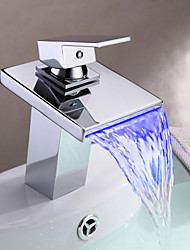 grifo del fregadero cuarto de baño en estilo contemporáneo termocrómico multi-colores LED de acero inoxidable grifo de la llave