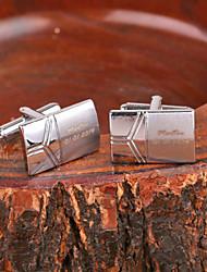 Presente personalizado Retângulo prata do metal gravado Cufflink
