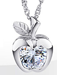 Timeek Women's 925 Silver Apple Shape Necklace