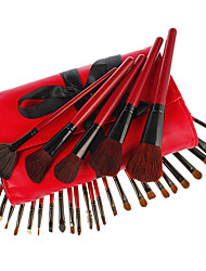 30Pcs Cosmetic Brush Set with Red Soft Leather Case