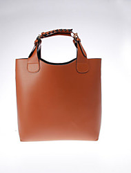 Women PU Casual Tote Brown
