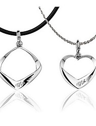 HoneyBaby Heart And Square Shape Lover Couple Necklace