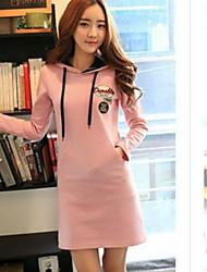 YGR Women's Pink Long Sleeve Hoodie Dress