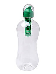 380ML Outdoor Sports Green Portable Manual PE Filtered Water Bottle