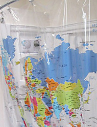 "Shower Curtain Modern Lucency World Map Print Environmental-friendly W79"" x L71"""