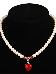 Fabulous White Pearl With Ruby Women's Necklace