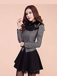 Yibu Dulce largo adelgaza vestido de lana de la manga (Negro)