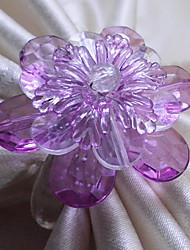 Cristal orchidée Rond de serviette, Set de 12, acrylique perles Dia3.5cm