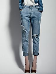 PIES UPER Mujeres Gran tamaño de la cintura Lamentando Harem Jeans Bajos
