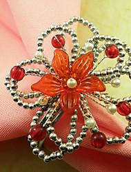 Fleurs thaïlandais perles acryliques anneau de serviette, Dia4.2-4.5cm Ensemble de 12