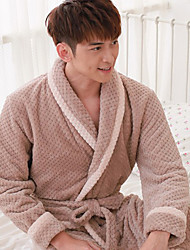 Bath Robe,High-class Man Brown Spot Print Garment Thicken