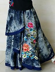 National Cotton Tendência Lazer PersonalityEmbroidery peônia Multilayer Irregular Costura mulher elástico na cintura com saias longas