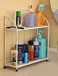 Modern 2 Layers Metal Bathroom Rack - 3 Colors Avaliable