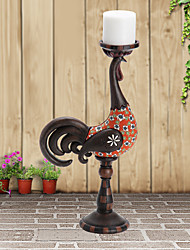 "13""H Country Style Cock Type Candelabra Polyresin Candle Holder"