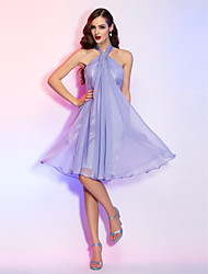 TS Couture® Cocktail Party / Homecoming / Holiday Dress - Short Plus Size / Petite A-line Halter Knee-length Chiffon with Crystal Brooch