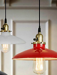 Bulb Included Pendant, 1 Light, American Style Rustic Red Metal Painting