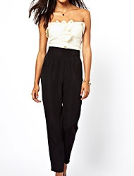 Women's White & Black Bandeau Jumpsuit with Frill Front