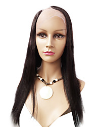22inch Silky Straight Right Part Brazilian Virgin Human Hair Natural Black dyeable U Part Wig