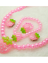 Girl's Strawberry Jewelry Set(Necklace&Bracelet&Earrings&Rings)(Random Color)