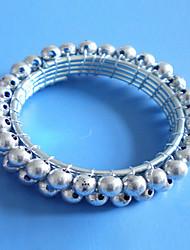 Silber Gold Perlen Serviettenring Set 12, Acryl, Durchmesser 4,5 cm