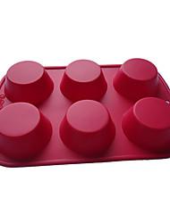 Six trous Muffin cuisson Plateaux, silicone (couleur Randoms)