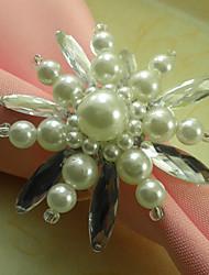 Crème fleur blanche acrylique perles Rond de Serviette, Dia4.2-4.5cm Ensemble de 12