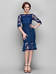 Lanting Sheath/Column Plus Sizes / Petite Mother of the Bride Dress - Dark Navy Knee-length Half Sleeve Chiffon / Tulle