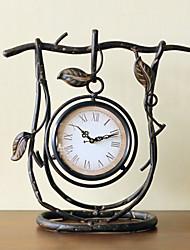 "13.75""H Retro Style Leaf Iron Tabletop Clock"
