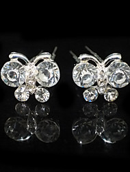 Nice Two Pieces Alloy Butterfly Shape Wedding Bridal Hairpins With Rhinestones