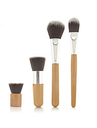 Pro High Quality 4 PCs Synthetic Hair Bamboo Handel Makeup Brush Set