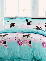 Hanting 4Pcs Romantic Twill Cotton Cover Set:Duvet Cover,Coverlet,Pillowcase*2_15