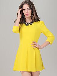 ACOM NO.9 Amarillo Burbuja de manga Ronda de cuello Falbala Dress
