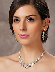 belle tchèque en alliage chromé de noces strass bijoux nuptiales ensemble, y compris le collier et boucles d'oreilles