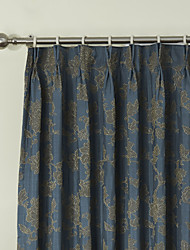 (Two Panels) Retro Fancy Country Floral Jacquard Energy Saving Curtain