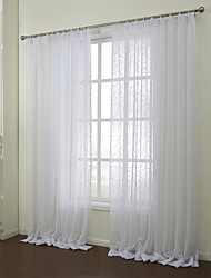Country Two Panels Floral  Botanical White Bedroom Poly  Cotton Blend Sheer Curtains Shades