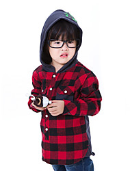 CF1992 Kid's Check Pattern Long Sleeve Shoodie Shirt(Red)