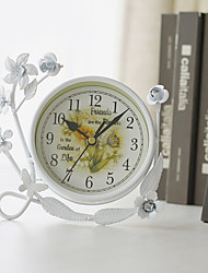 "7""H Country Style White Ruffles Iron Tabletop Clock"