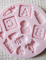 ABC BABY Silicone Mold Fondant Molds Sugar Craft Tools Chocolate Mould  For Cakes