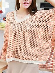 Folli koreanische lose Cut Out Splicing Knit Hemd